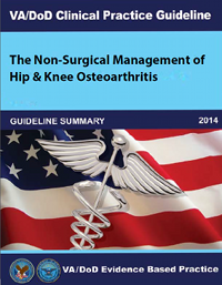 Image of the cover of the VA/DoD Clinical Practice Guideline The Non-Surgical Management of Hip and Knee Osteoarthritis