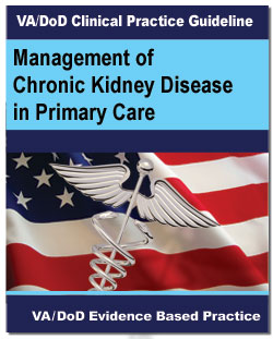 Image of the cover of the VA/DoD Clinical Practice Guideline Management of Chronic Kidney Disease in Primary Care