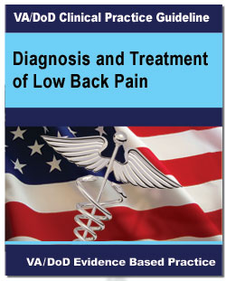 Image of the cover page of the VA/DoD Clinical Practice Guideline Diagnosis and Treatment of Low Back Pain